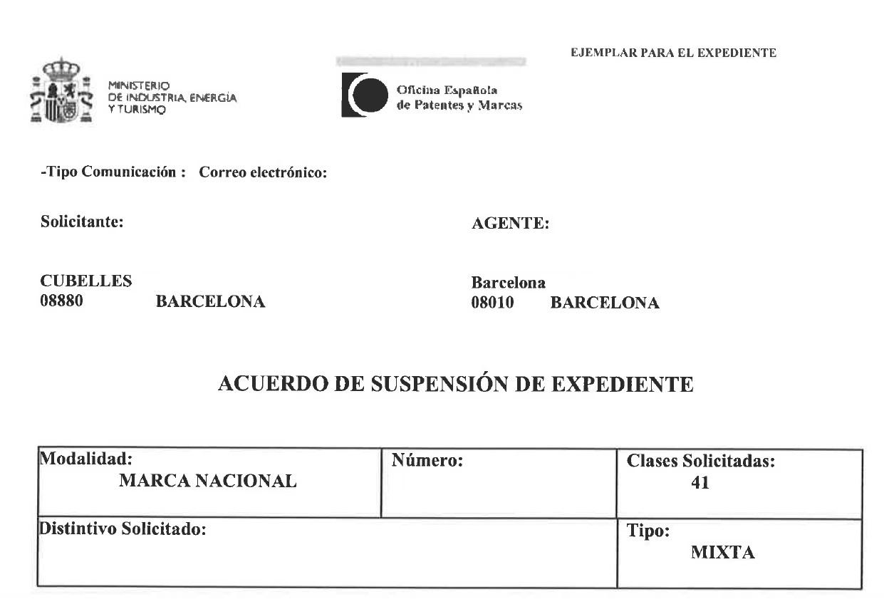 Suspenso de la solicitud de un marca española