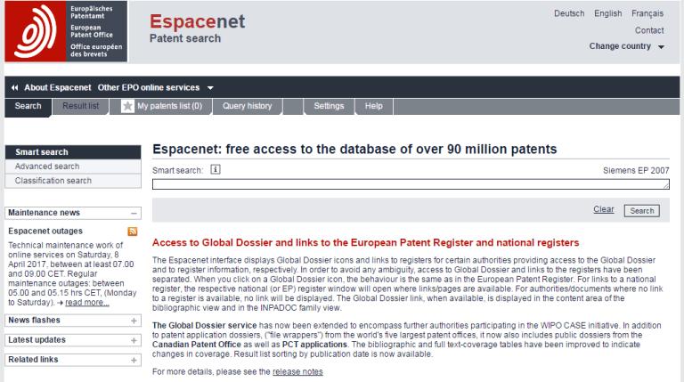 buscador de patentes Espacenet